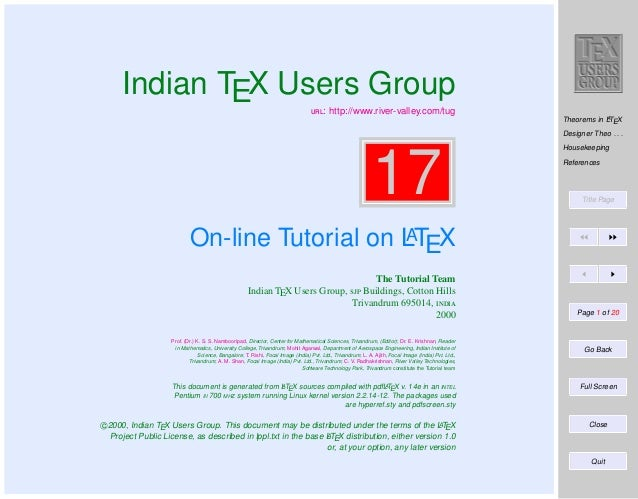 Indian TEX Users Group : http://www.river-valley.com/tug  A Theorems in LTEX  Designer Theo . . .  17  Housekeeping Ref...