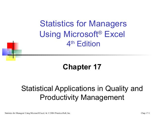Chap17 statistical applications on management