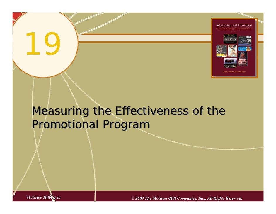 19   Measuring the Effectiveness of the   Promotional Program     McGraw-Hill/Irwin   © 2004 The McGraw-Hill Companies, In...