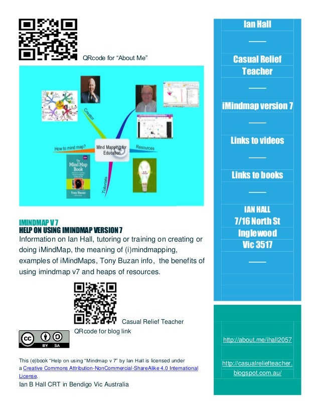 """Ian Hall  QRcode for """"About Me""""  Casual Relief Teacher  iMindmap version 7  Links to videos  Links to books  IAN HALL IMIN..."""