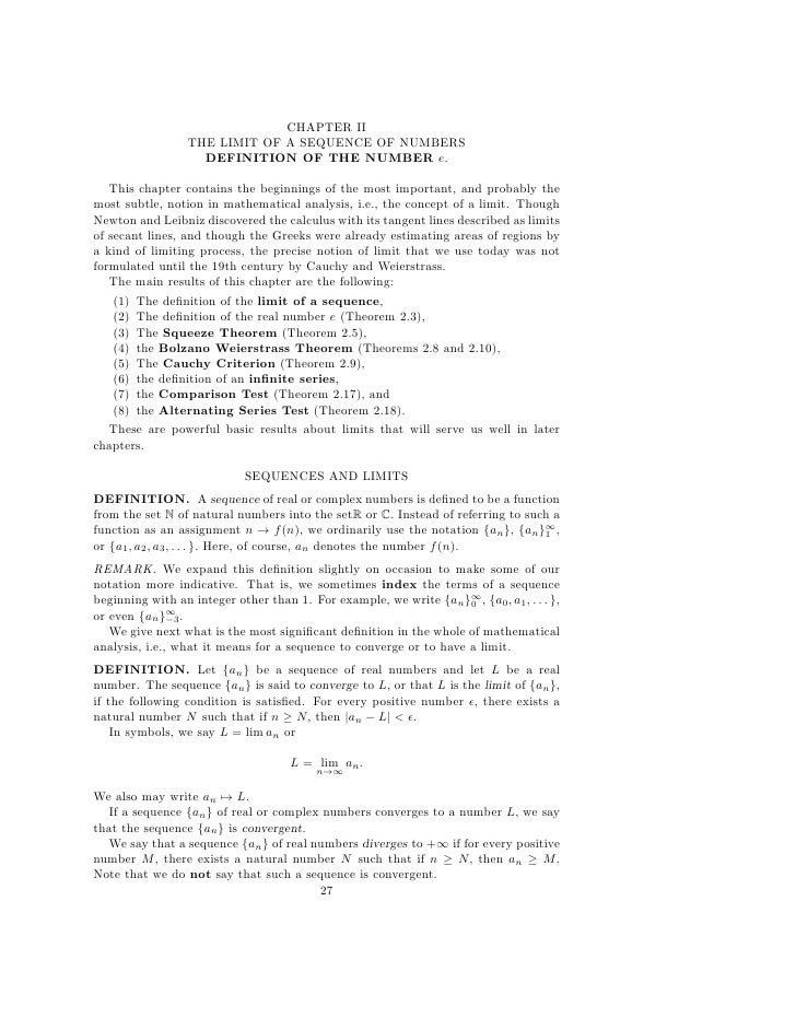 CHAPTER II                  THE LIMIT OF A SEQUENCE OF NUMBERS                    DEFINITION OF THE NUMBER e.   This chapt...