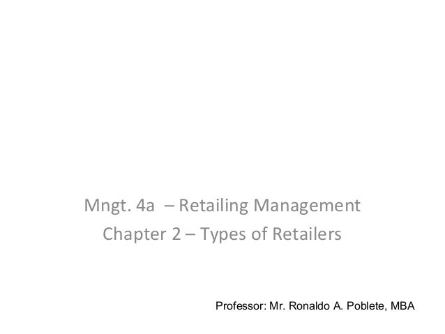 Mngt. 4a – Retailing Management Chapter 2 – Types of Retailers Professor: Mr. Ronaldo A. Poblete, MBA