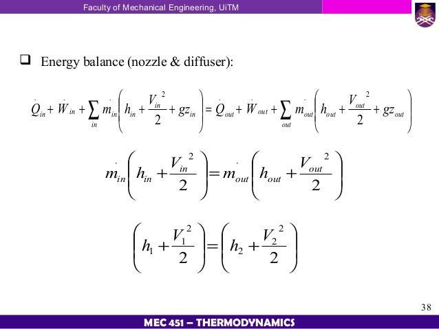 Energy Balance Thermodynamics Energy Balance Nozzle