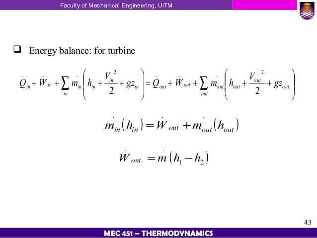 Energy Balance Thermodynamics Energy Balance For