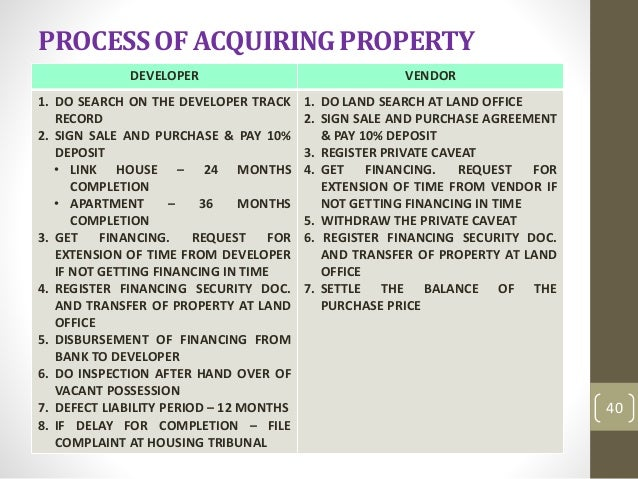 housing development act 1966 in malaysia If you are purchasing residential property directly that is still being constructed, the party that you are dealing with is the developer in peninsular malaysia, the relationship between the homebuyer and developer is regulated by the housing development (control and licensing) act 1966 (hda) the hda.