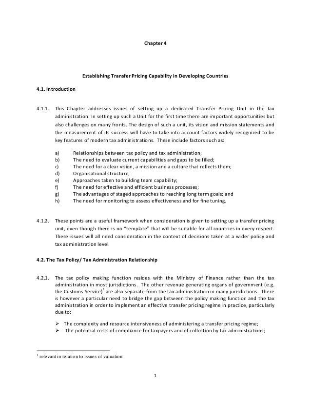Transfer pricing: practical manual for developing countries -Chapter 4 Capability