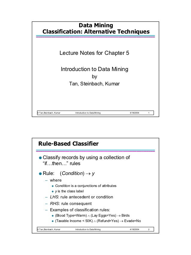 Data Mining     Classification: Alternative Techniques                     Lecture Notes for Chapter 5                    ...