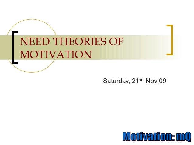 NEED THEORIES OF MOTIVATION Saturday, 21st Nov 09