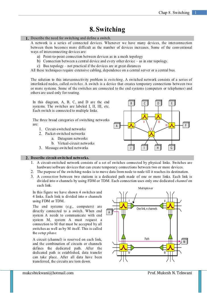 Chap 8. Switching       1                                           8. Switching 1. Describe the need for switching and de...