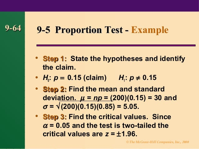 hypothesis testing for means and proportions Hypothesis testing i: proportions1 tion and hypothesis testing the z test of two population means is often conducted.
