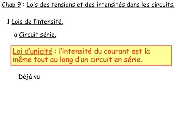 Chap 9 : Lois des tensions et des intensités dans les circuits. 1 Lois de l'intensité. a Circuit série. Loi d'unicité : l'...