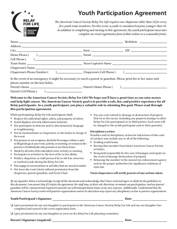 Chaperone Agreement                                    The American Cancer Society Relay For Life requires one chaperone o...