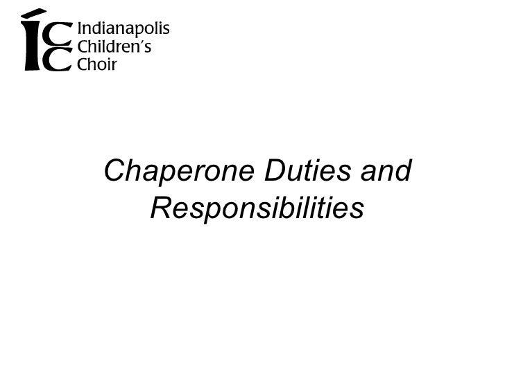 Chaperone Duties and Responsibilities