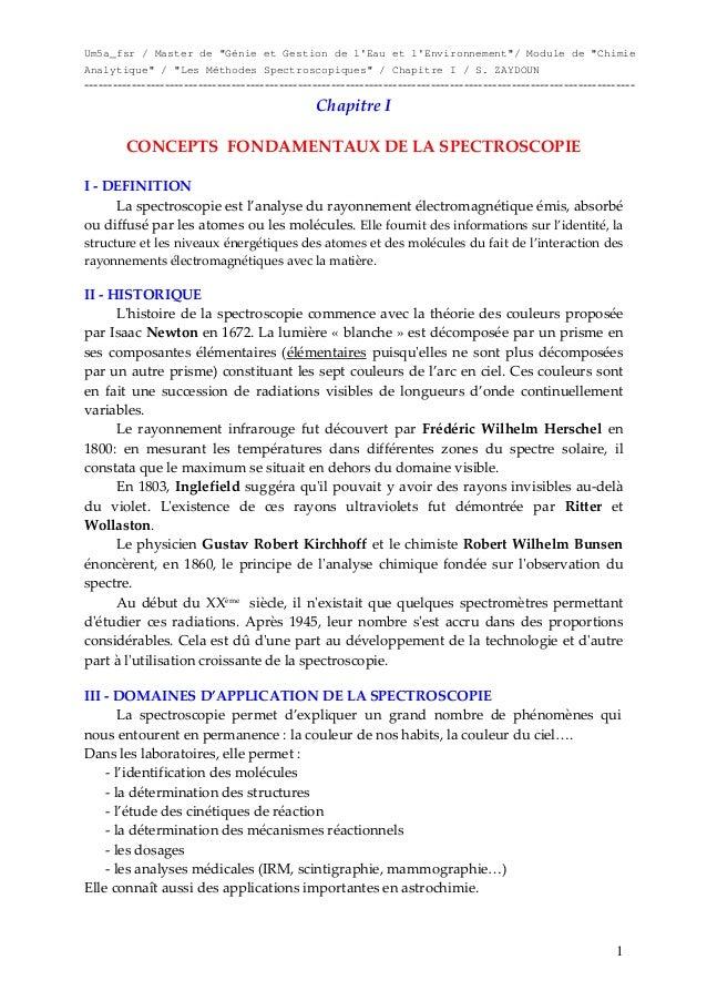 """Um5a_fsr / Master de """"Génie et Gestion de l'Eau et l'Environnement""""/ Module de """"Chimie Analytique"""" / """"Les Méthodes Spectro..."""