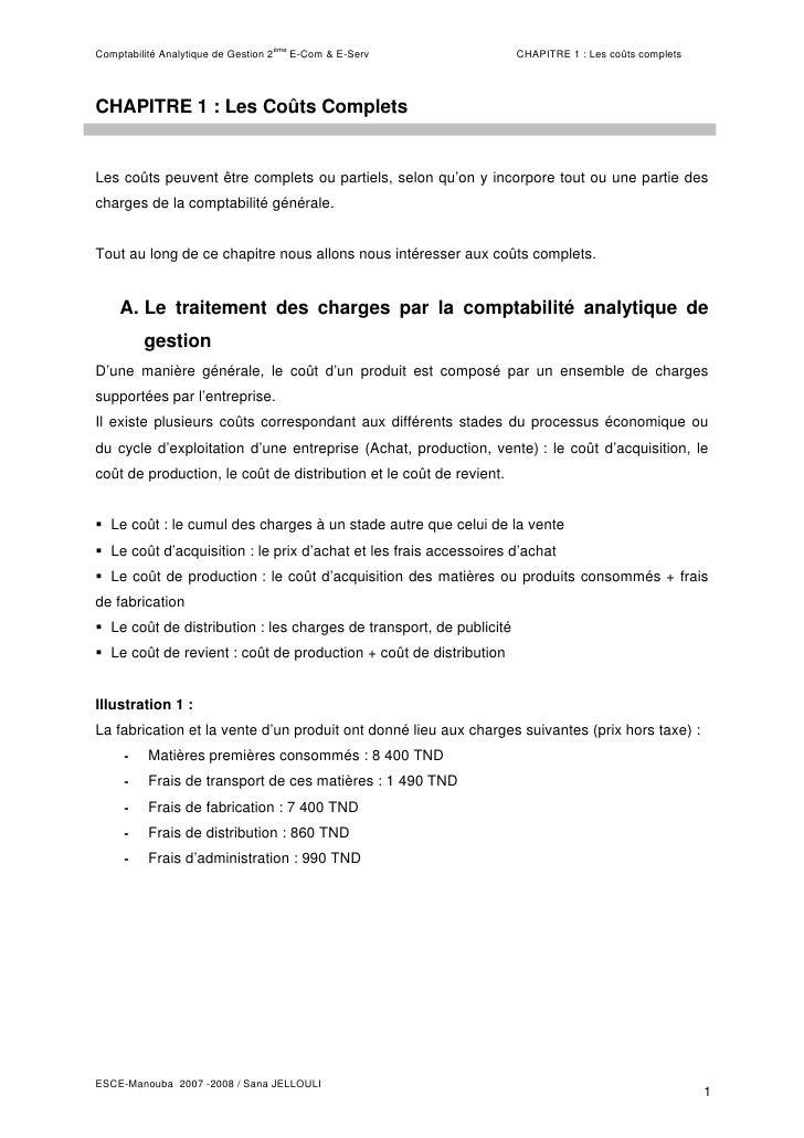 èmeComptabilité Analytique de Gestion 2         E-Com & E-Serv           CHAPITRE 1 : Les coûts completsCHAPITRE 1 : Les C...