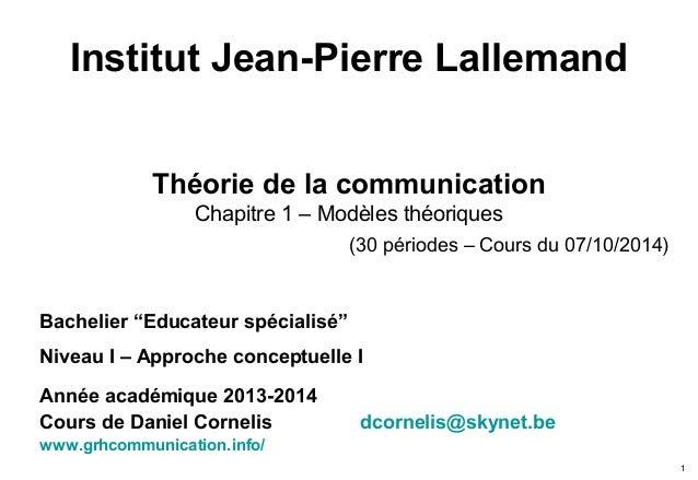 Institut Jean-Pierre Lallemand Théorie de la communication Chapitre 1 – Modèles théoriques (30 périodes – Cours du 07/10/2...
