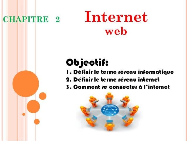 CHAPITRE 2 Internet web Objectif: 1. Définir le terme réseau informatique 2. Définir le terme réseau internet 3. Comment s...