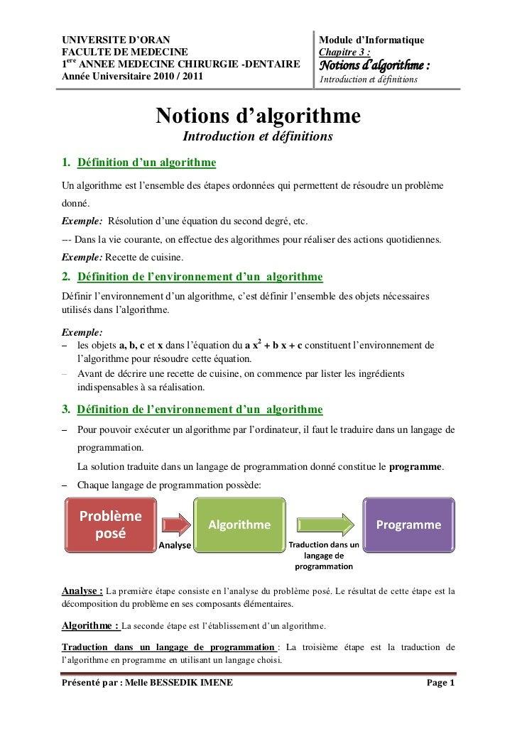 UNIVERSITE D'ORAN                                                 Module d'InformatiqueFACULTE DE MEDECINE                ...