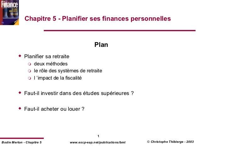 Chapitre 5 - Planifier ses finances personnelles                                                    Plan              Plan...