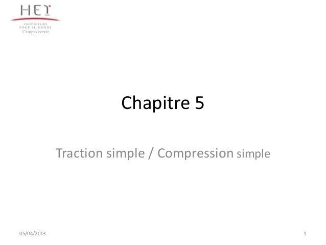 Campus centre                           Chapitre 5                 Traction simple / Compression simple05/04/2013         ...