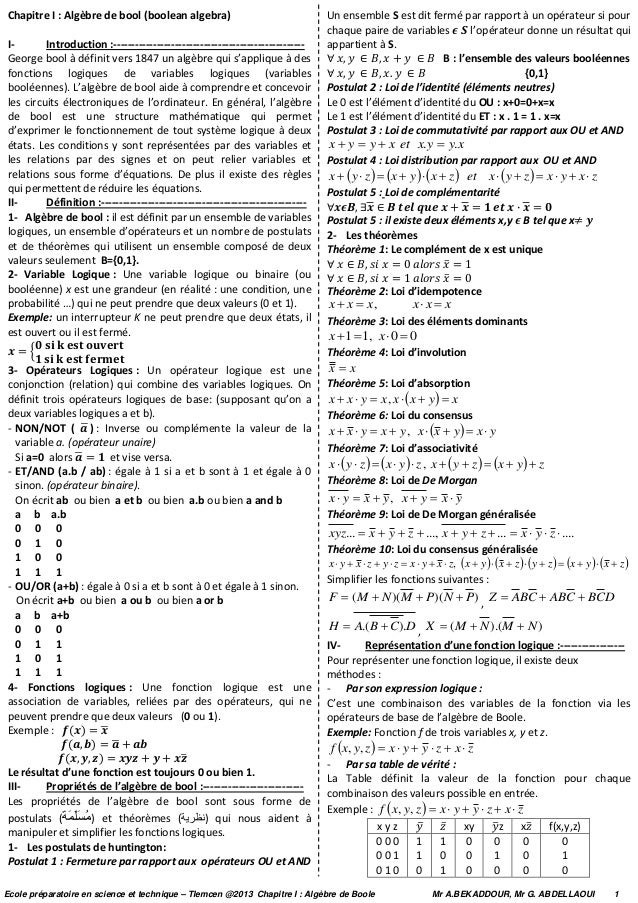 Chapitre I : Algèbre de bool (boolean algebra) I- Introduction :----------------------------------------------------- Geor...