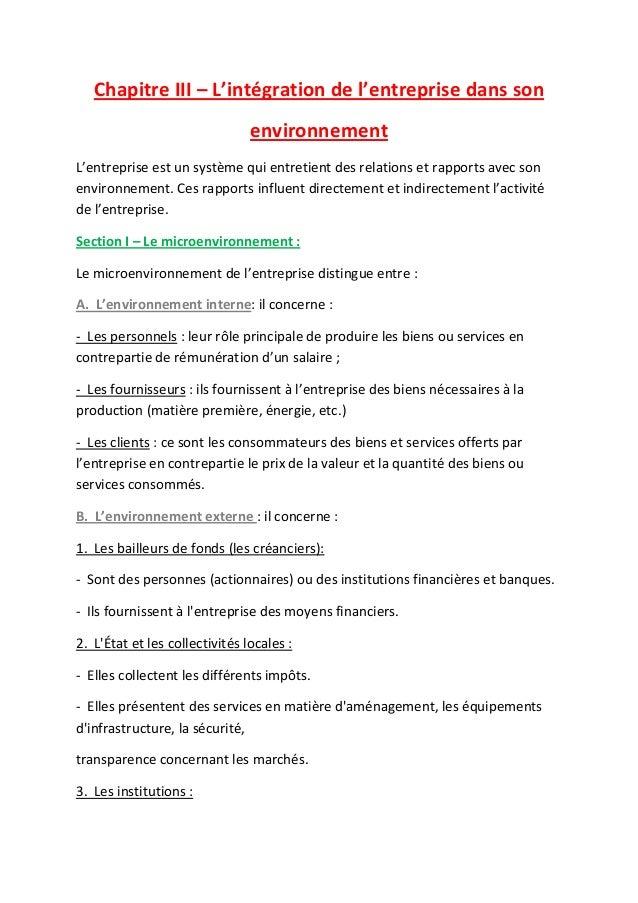 Chapitre III – L'intégration de l'entreprise dans son environnement L'entreprise est un système qui entretient des relatio...