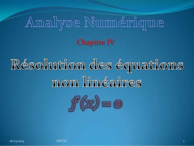 Chapitre IV16/03/2013   INTTIC                 1