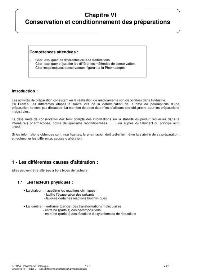 BP S14 - Pharmacie Galénique 1 / 6 V 2.1 Chapitre IV / Tome 2 – Les différentes formes pharmaceutiques Compétences attendu...