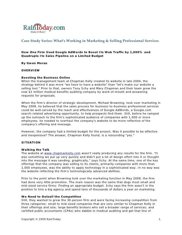 CaseStudySeries:What'sWorkinginMarketing&SellingProfessionalServices   How One Firm Used Google AdWords to Boos...