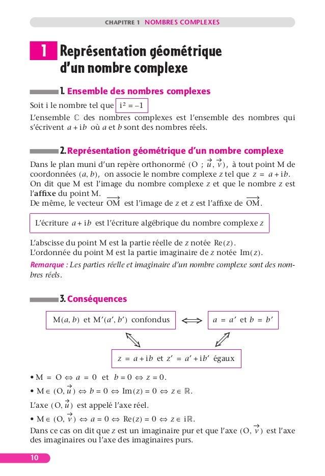 CHAPITRE 1 NOMBRES COMPLEXES 10 Représentation géométrique d'un nombre complexe 1. Ensemble des nombres complexes Soit i l...