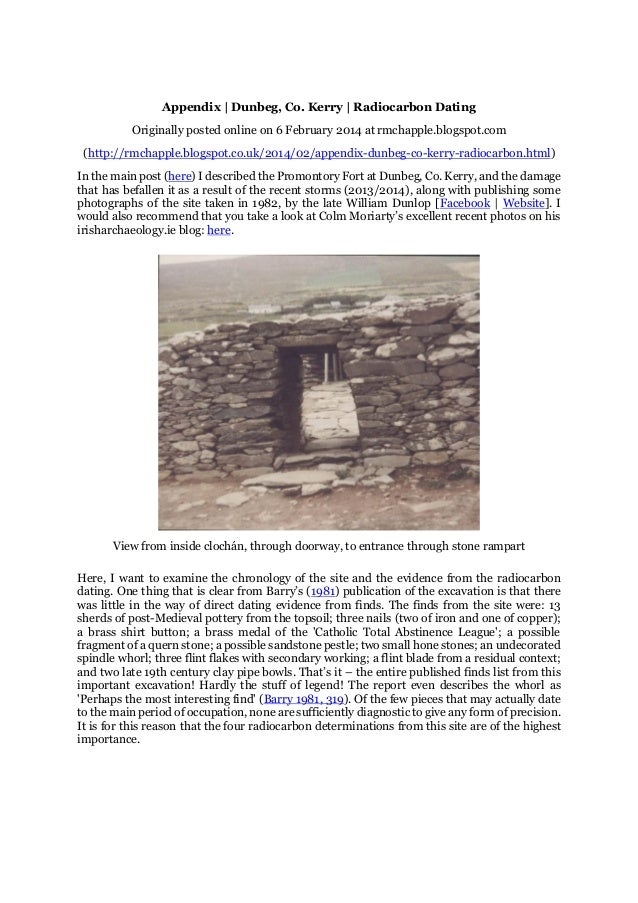 Appendix | Dunbeg, Co. Kerry | Radiocarbon Dating Originally posted online on 6 February 2014 at rmchapple.blogspot.com (h...