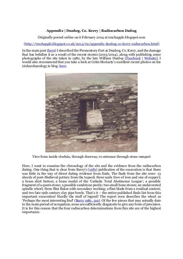 Chapple, R. M. 2014 Appendix | Dunbeg, Co. Kerry | Radiocarbon Dating. Blogspot post