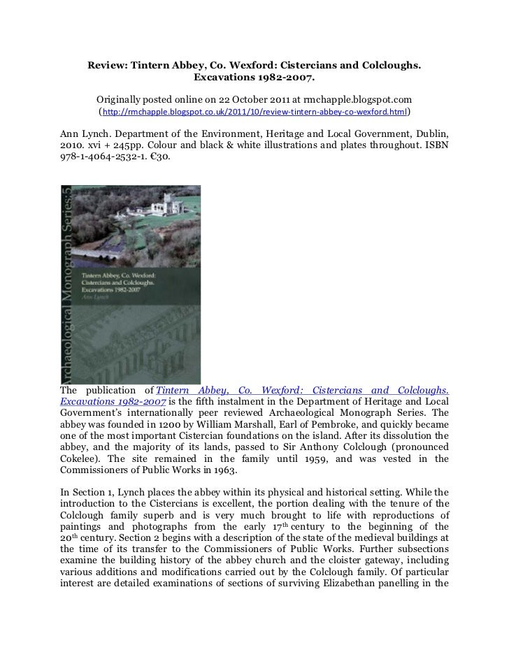 Review: Tintern Abbey, Co. Wexford: Cistercians and Colcloughs. Excavations 1982-2007