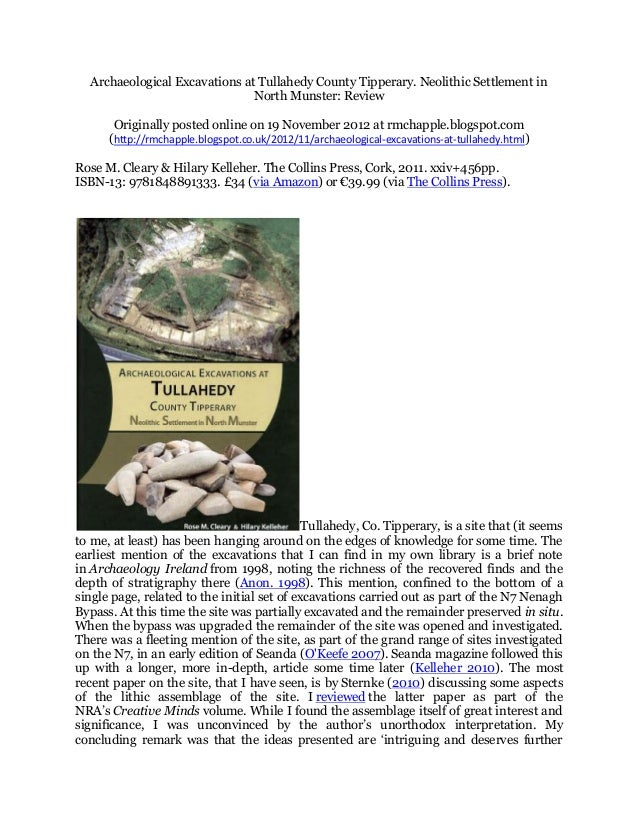 Archaeological Excavations at Tullahedy County Tipperary. Neolithic Settlement in                               North Muns...