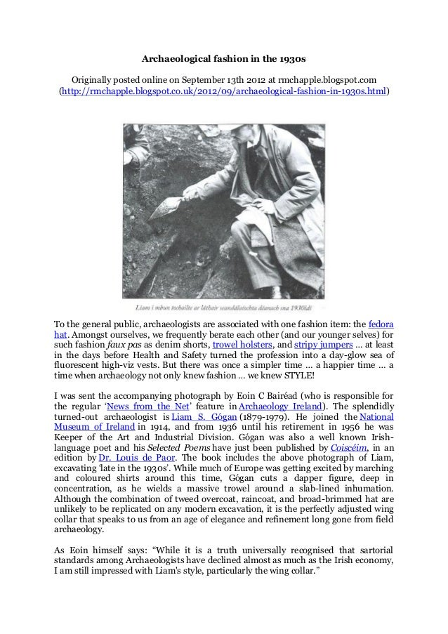 Chapple, R. M. 2012 'Archaeological Fashion in the 1930s' Blogspot post
