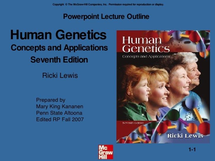 Human Genetics  Concepts and Applications Seventh Edition Powerpoint Lecture Outline  Ricki Lewis Prepared by Mary King Ka...