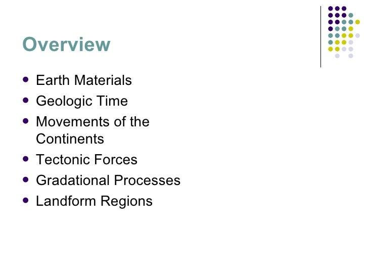 Overview <ul><li>Earth Materials </li></ul><ul><li>Geologic Time </li></ul><ul><li>Movements of the Continents </li></ul><...
