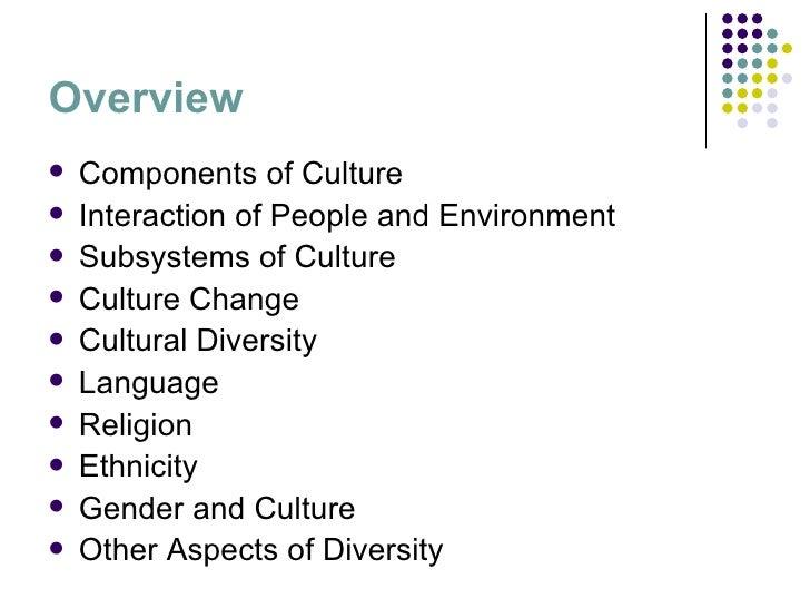 Overview <ul><li>Components of Culture </li></ul><ul><li>Interaction of People and Environment </li></ul><ul><li>Subsystem...