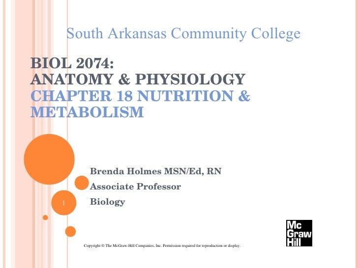 BIOL 2074:  ANATOMY & PHYSIOLOGY CHAPTER 18 NUTRITION & METABOLISM Brenda Holmes MSN/Ed, RN Associate Professor Biology So...