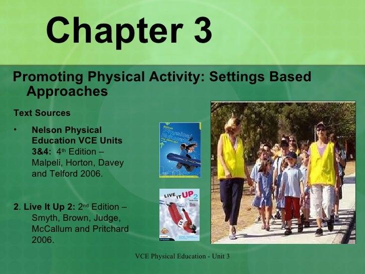 Chapter 3 <ul><li>Promoting Physical Activity: Settings Based Approaches </li></ul>VCE Physical Education - Unit 3 <ul><li...