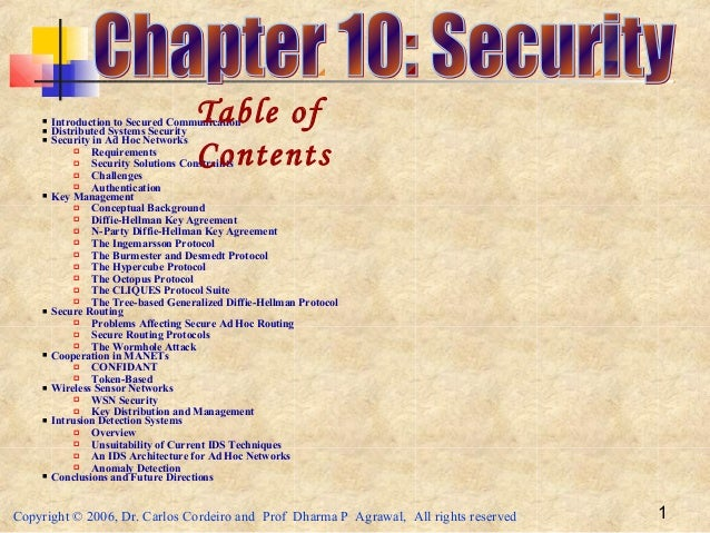 Copyright © 2006, Dr. Carlos Cordeiro and Prof Dharma P Agrawal, All rights reserved 1 Introduction to Secured Communicat...