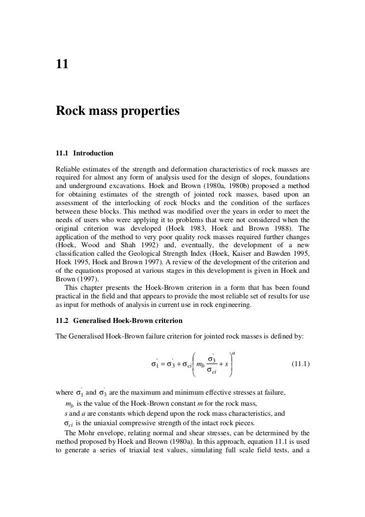 11   Rock mass properties   11.1 Introduction  Reliable estimates of the strength and deformation characteristics of rock ...