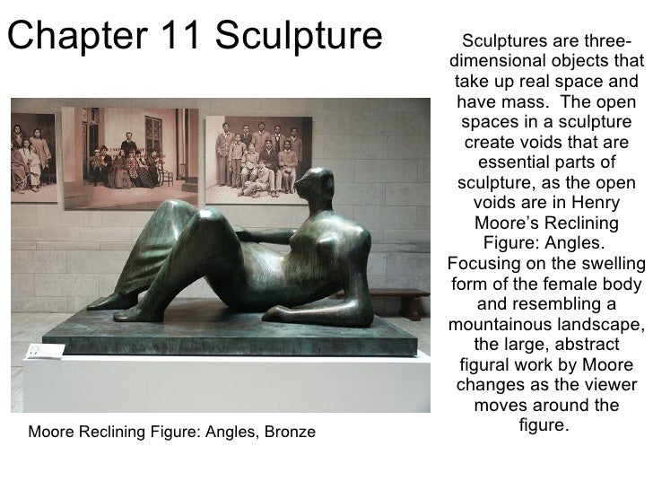 Chapter 11 Sculpture Sculptures are three-dimensional objects that take up real space and have mass.  The open spaces in a...