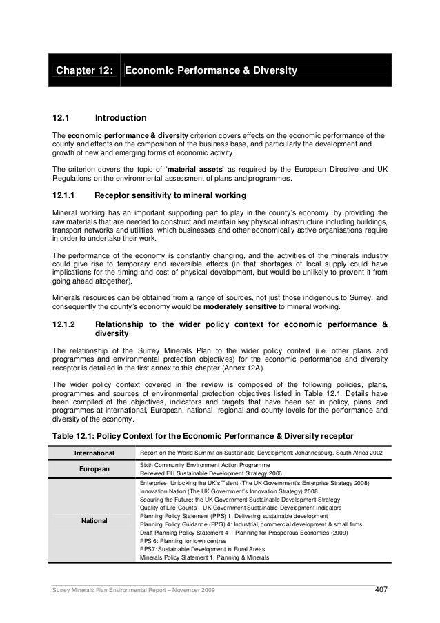 Surrey Minerals Plan Environmental Report – November 2009 407 Chapter 12: Economic Performance & Diversity 12.1 Introducti...