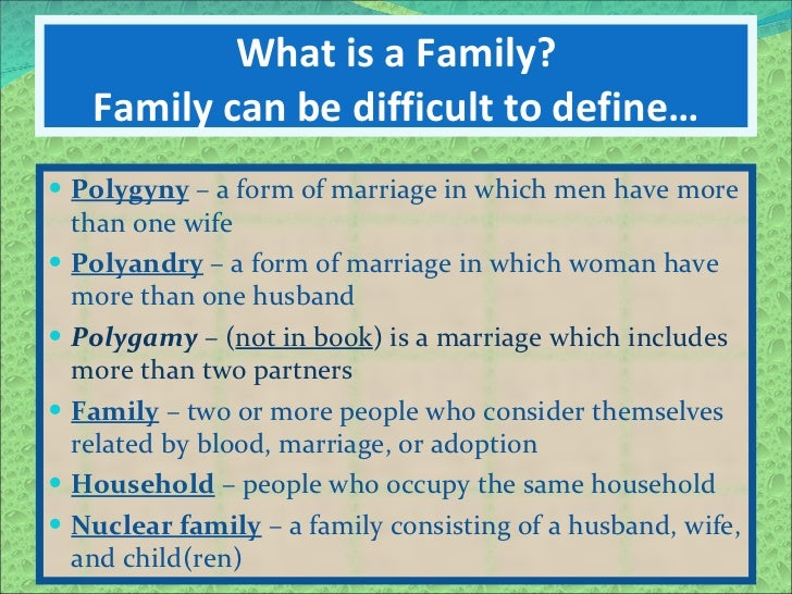 'a family can be defined as Definition of family - a group consisting of two parents and their children  'she  moved in with her boyfriend's family'  'friends and family can provide support.