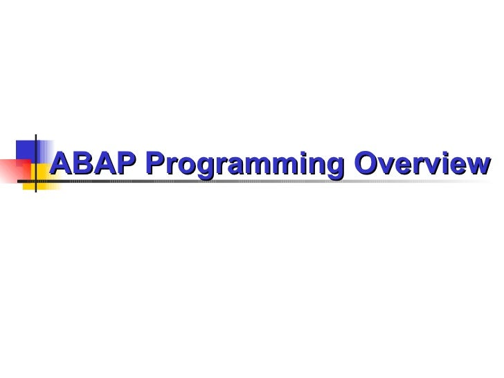 Chapter 1 Abap Programming Overview