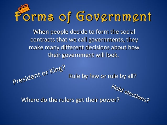 Chapter 2 types of government who rules