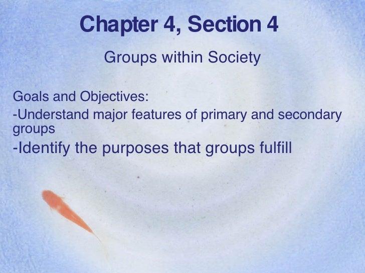 Chapter 4, Section 4 <ul><li>Groups within Society </li></ul><ul><li>Goals and Objectives: </li></ul><ul><li>Understand ma...