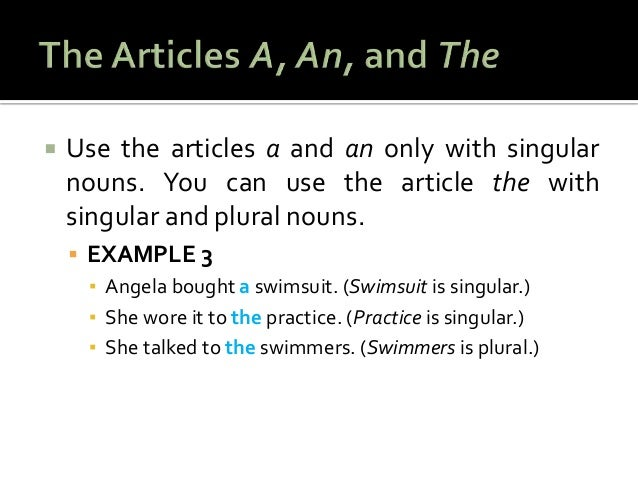 Articles a an and plural nouns