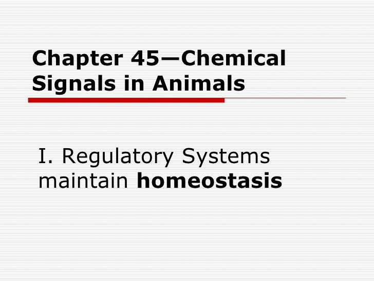Chapter 45—Chemical Signals in Animals I. Regulatory Systems maintain  homeostasis
